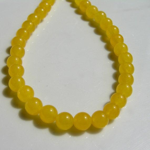 Yellow Jade 8mm Round Beads Full strand