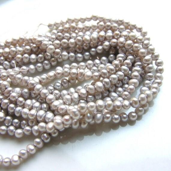 Silvery Ivory Small Potato Freshwater Pearl Beads  FULL STRAND