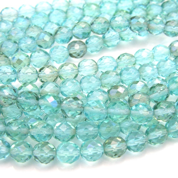 Light Aquamarine Clarit 8mm Fire Polish Faceted Round Beads   25