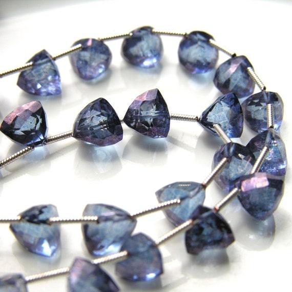 Deep Blue Mystic Topaz Faceted Trillion Briolette beads  4