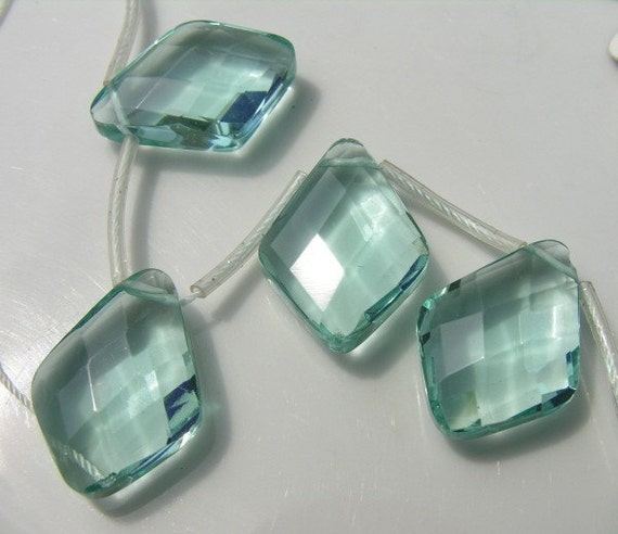 Aqua Quartz Faceted Diamond Pendant 28mm