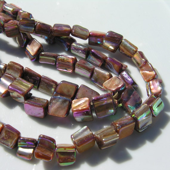 Shimmery Pink and Tan Shell Nugget Beads   FULL STRAND
