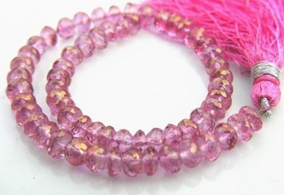 STUNNING Pink Topaz Rondelle Beads   10 beads
