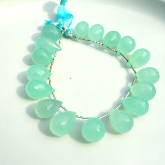 Beautiful Aqua Chalcedony Faceted Round Teardrop Briolettes  ONE