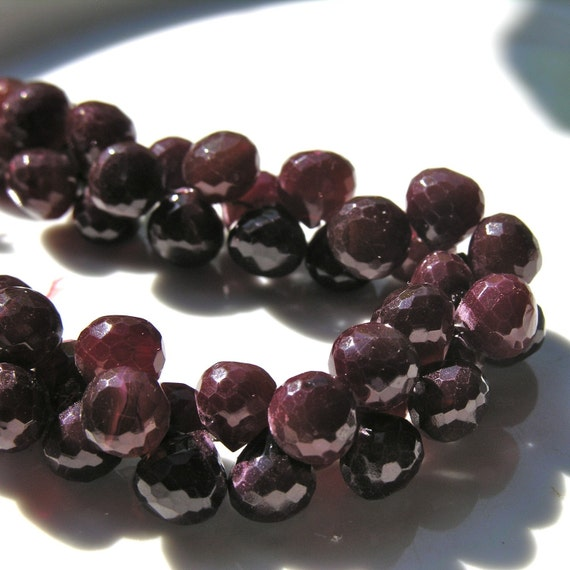 Cherry Chocolate Large Faceted Chalcedony Onion Briolette Beads   4