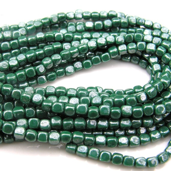 Luster Opaque Green 4mm Cubes Czech Glass     50 Beads