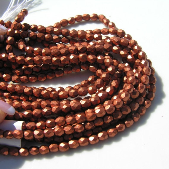 Matte Copper 3mm Faceted Fire Polish Beads  50