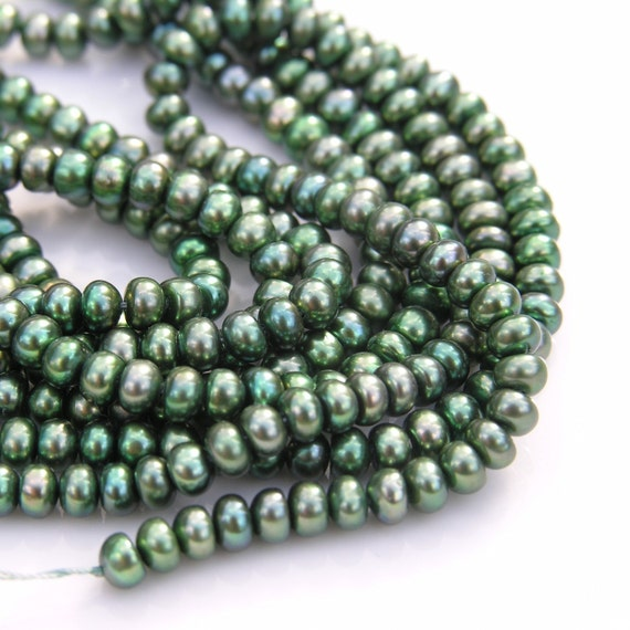 Dark Green 5x3mm Button Freshwater Pearl Beads  FULL STRAND