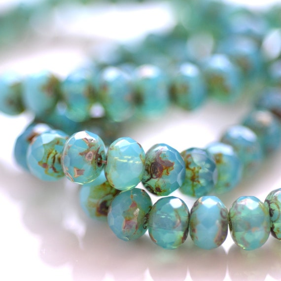 Turquoise Picasso 6x4mm Czech Glass Rondelle Beads    25