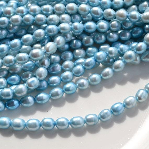 Sky BLue Chunky Rice Freshwater Pearl Beads   FULL STRAND