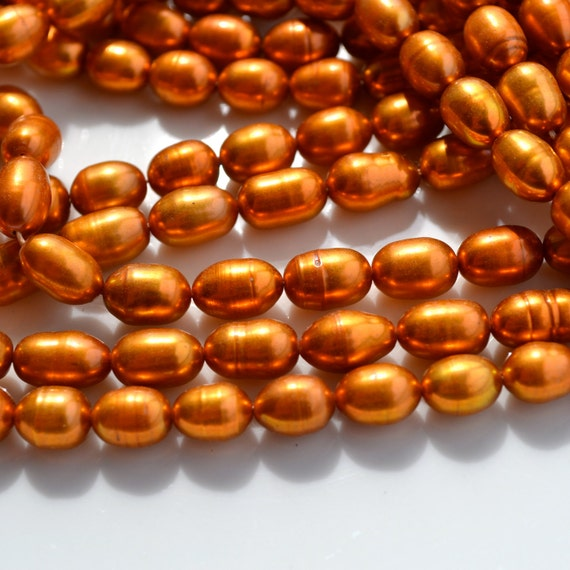 Bright Burnt COpper Freshwater Pearl Rice Beads FULL STRAND