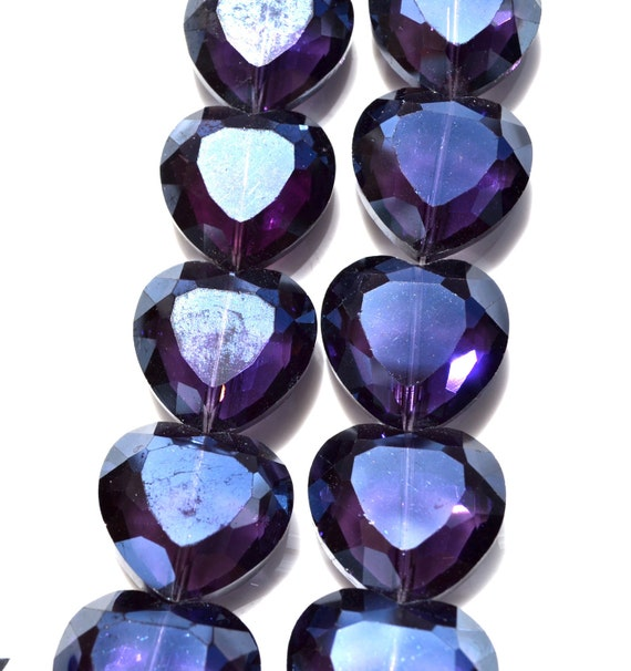 Large Deep Amethyst Purple Faceted Heart Crystal Beads   2