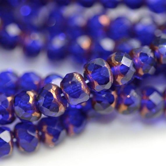 Deep Cobalt Copper 6mm Faceted Fire Polish Rondelle Beads   25