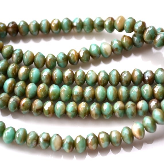 Turquoise and Brown 5mm Faceted Rondelle Czech Glass Beads   50