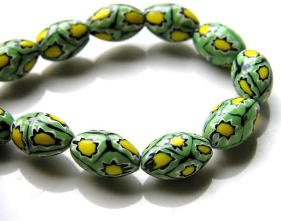 Gorgeous Green and Yellow Millifiore Beads 5