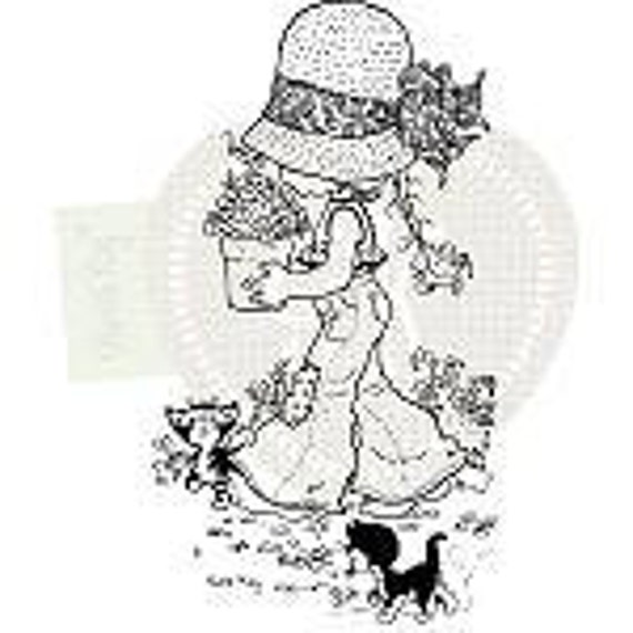 CLEARANCE Olivia Kitten Sarah Kay Stampavie Acrylic Stamps REDUCED PRICE