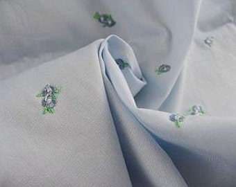 Blue Embroidered Flowers Japanese Cotton
