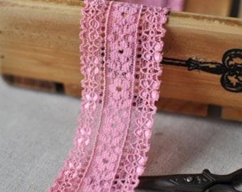 2M Japanese Elastic Pink Lace