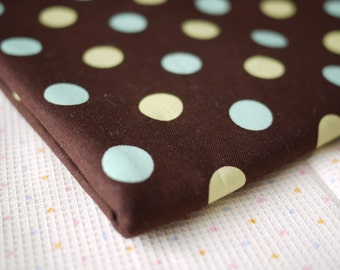 Yellow & Blue Polka Dots On Brown