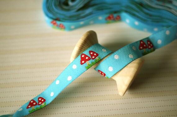2M Polka Dot Toadstool Woven Ribbon - Blue