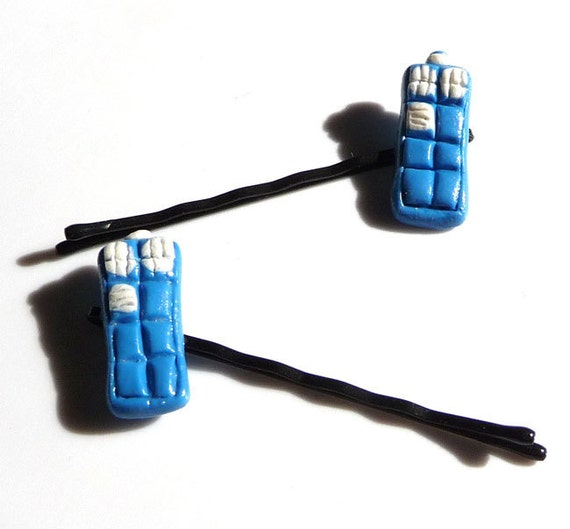 Bobby Pins Blue White Police Box Miniature Dr Who Tardis The Doctor Hairpins Set of Two