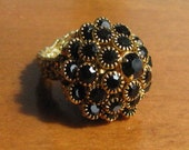 Vintage Black Crystal Layered Cocktail Ring