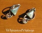 Vintage Modernist Art Glass and Amethyst Earrings
