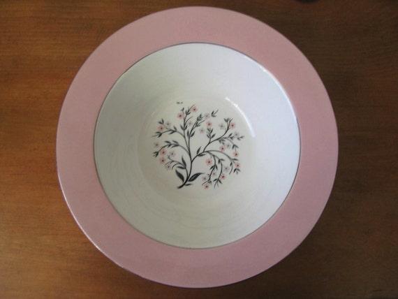 Vintage 1960's Homer Laughlin Pink Cavalier Springtime Serving Bowl