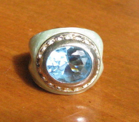 Vintage Blue Topaz and Rhinestones Mint Green Enamel and Sterling Ring