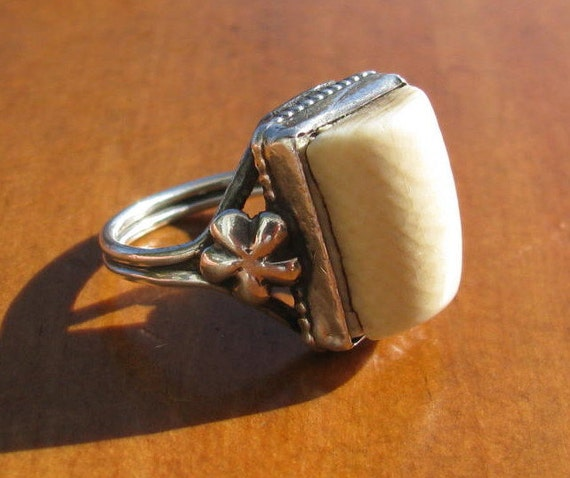 Vintage 1960's Pre Ban Ivory and Sterling Silver Ring