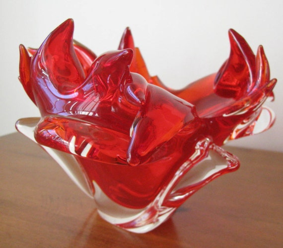 Vintage 1950's Organic Red Czech Glass Chribska Bowl