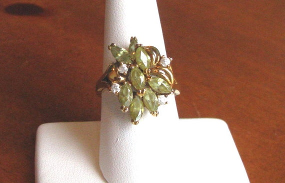 Vintage 1950's Peridot and Rhinestone Sterling Silver with Gold Wash Ring