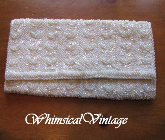 Vintage Richere 1950's Off White Sequins and Beads Envelope Clutch Purse