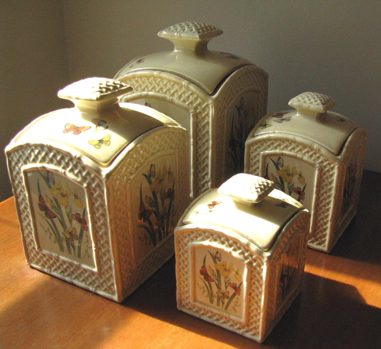 Vintage 1978 Enesco Ceramic Canister Set