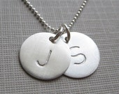 TWO INITIAL Charm Handstamped Personalized Sterling Silver Keepsake Necklace