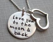 Love you to the moon and back - Silver necklace with a Heart charm (NN001)