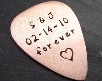 Guitar Pick / Guitar Plectrum - Copper Hand Stamped Personalized / Customized Guitar Pick - SINGLE SIDED