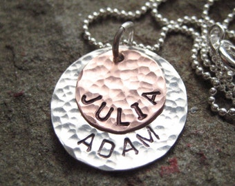 Personalized Necklace - TWO NAMES Round pendants - Hand stamped sterling silver, copper / keepsake necklace