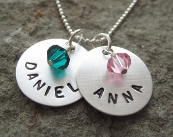 Hand Stamped TWO NAME Sterling Silver Disc Pendants with BIRTHSTONES - Personalized Keepsake Necklace