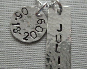 Celebrate Babys First Birthday - Handstamped Sterling Silver Birthday and Name Keepsake Necklace