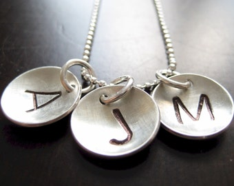 Hand stamped / Personalized necklace - THREE Sterling silver disc pendants