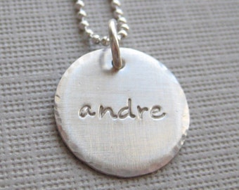 ONE NAME Charm hand stamped - Personalized sterling silver / Keepsake necklace