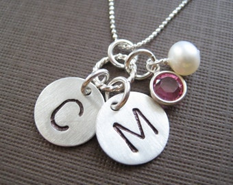 INITIAL Jewelry - Hand stamped TWO initials / Personalized necklace / Sterling silver necklace with crystal pearls or birthstones (NI013)