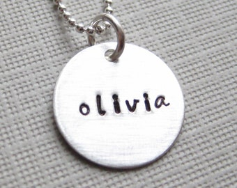 ONE NAME Charm - Hand stamped / Personalized sterling silver / Keepsake necklace