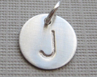 ADD an INITIAL Charm - 1/2 inch Round sterling silver tag (AO006)