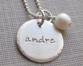 ONE NAME Charm Handstamped Personalized Sterling Silver Keepsake Necklace with a Pearl or a Birthstone