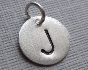 ADD an INITIAL Charm - 1/2 inch Round sterling silver tag (AO008)