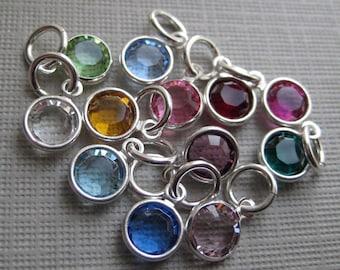 ADD A BIRTHSTONE - Round Swarovski Crystal - Sterling Silver