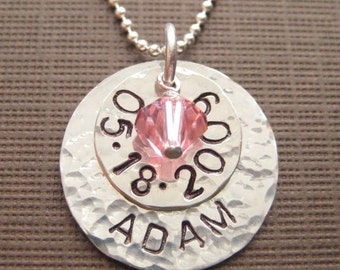 Personalized Baby Shower Gift - Hand stamped sterling silver / Birthday and name keepsake necklace with a birthstone (NN023)