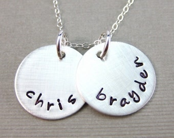 Hand Stamped Necklace - TWO NAME sterling silver personalized Necklace (NN016)